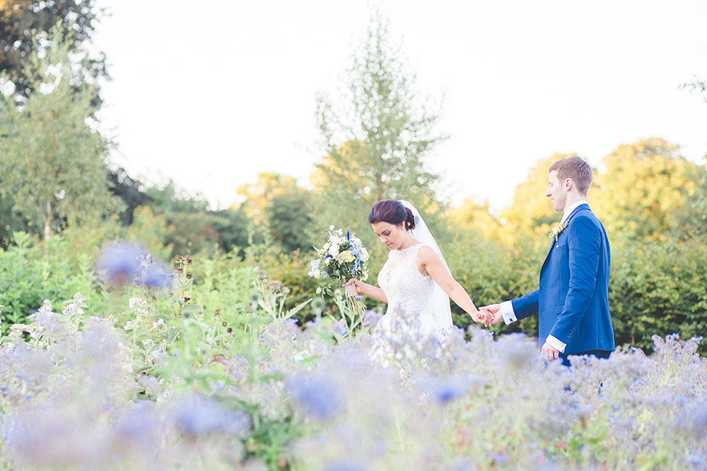 Bride and Groom Photo lavender garden at Matara Centre Wedding Venue in Gloucester