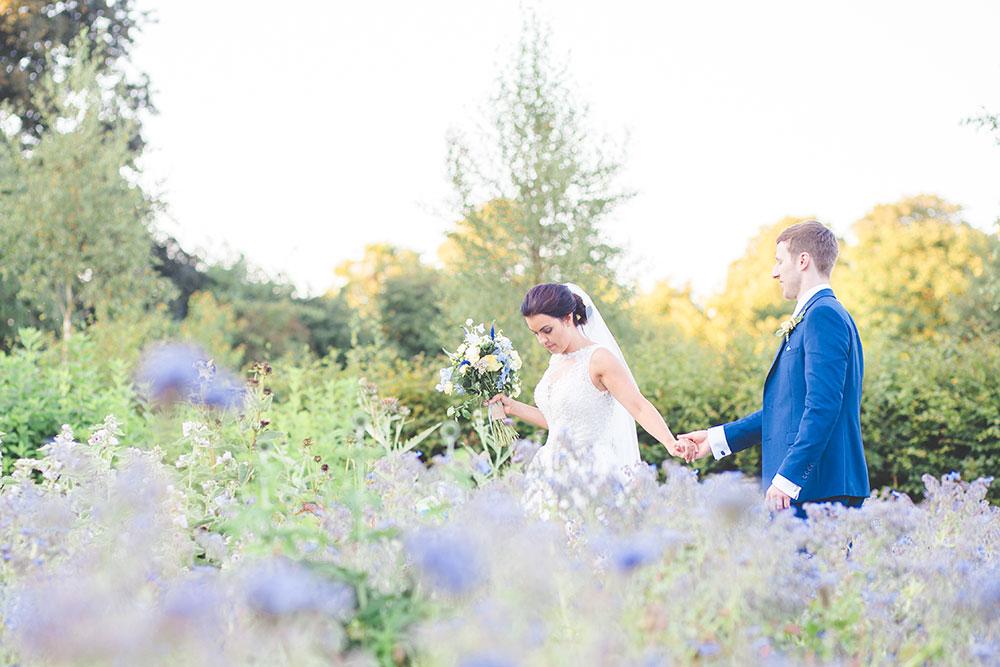 Bride and Groom Photo lavender garden at Matara Centre Wedding Venue in Gloucester