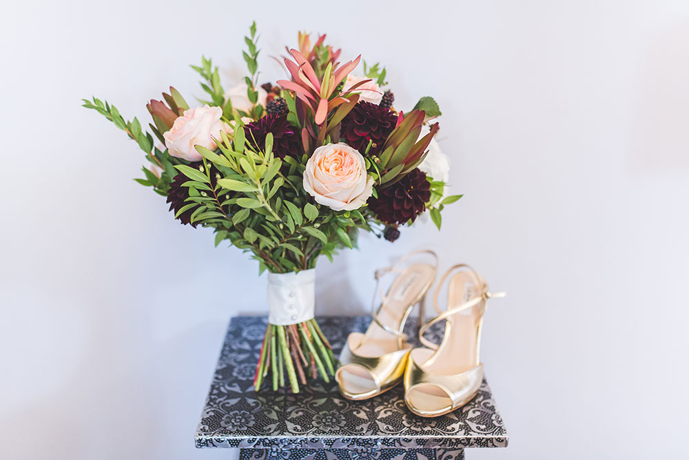 Red and Blush Bridal Bouquet and Gold Wedding Shoes