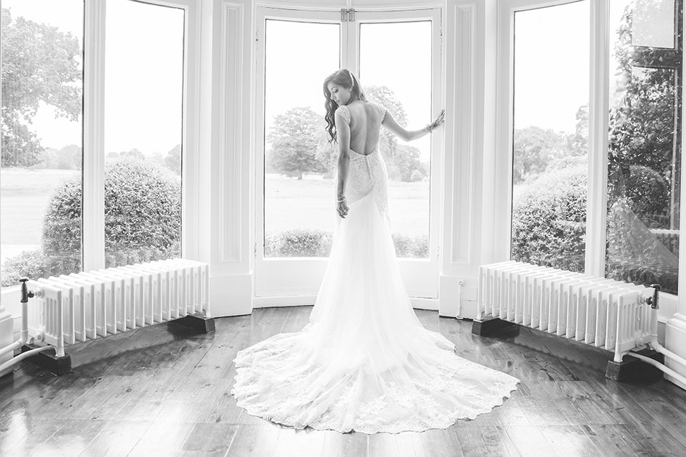Bride wearing Ronald Joyce Wedding Dress at Pendrell Hall Wedding Venue