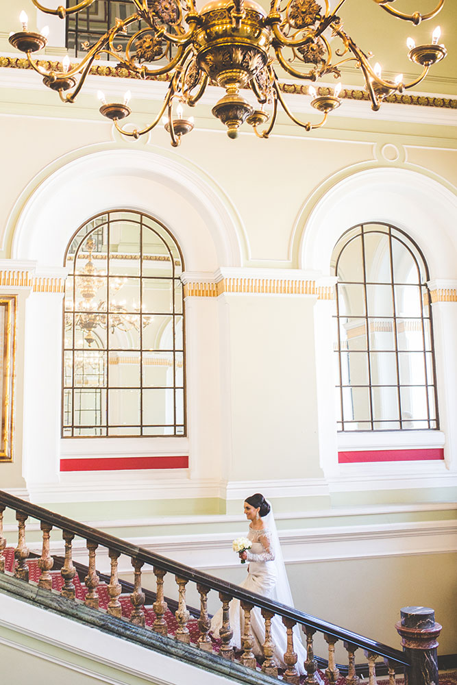 Bride stairway portrait in Birmingham Wedding Venue