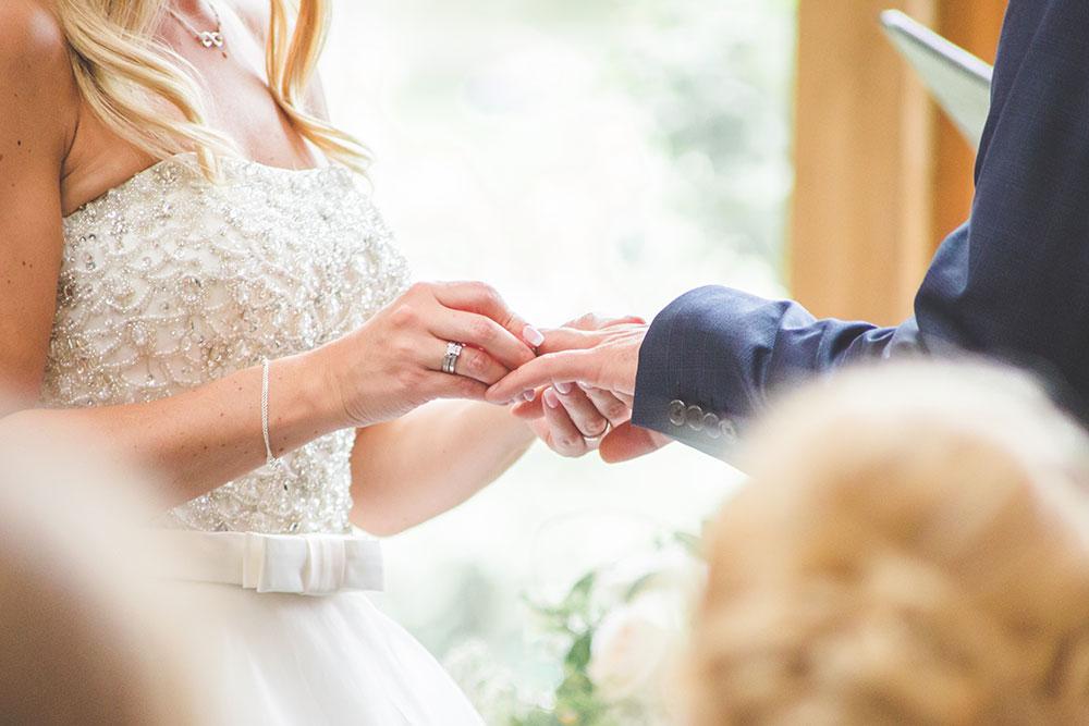 Wedding Ring Exchange at Mythe Barn, Warwickshire