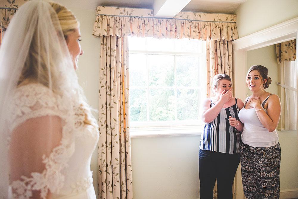 Bridesmaids first look at Bride, Prestwold Hall Wedding - Loughborough