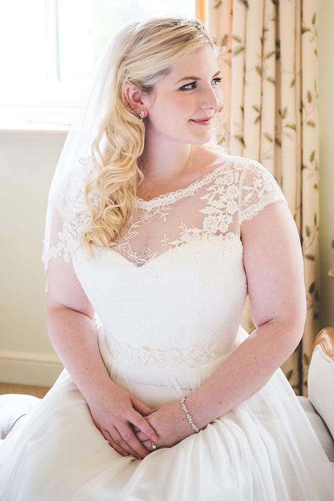 elegant bridal portrait at Prestwold Hall, Loughborough