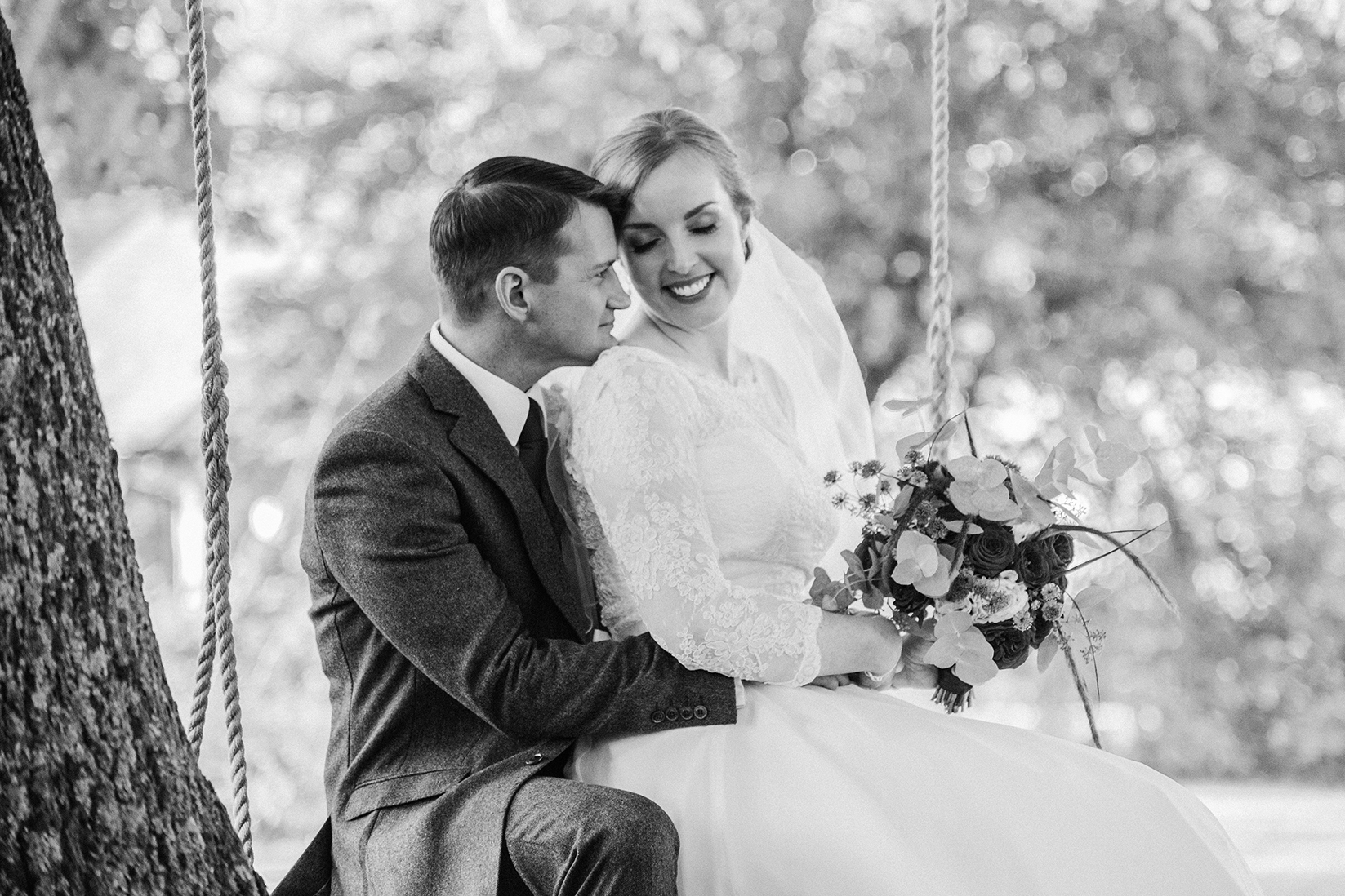 Black and White Portrait of Bride and Groom after their Wedding Ceremony at Wethele Manor in Leamington Spa