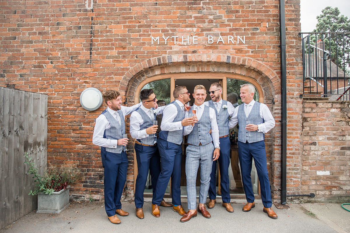 Groom and his Groomsmen at Mythe Barn Wedding