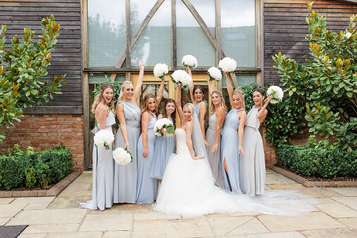 Bride and her Bridesmaids at Mythe Barn Wedding