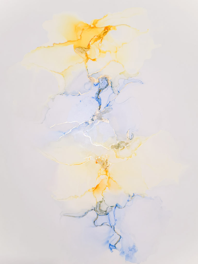 Abstract Art by Priya Blue Yellow and Gold